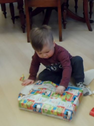 Opening his presents!