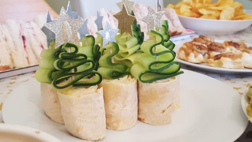cheese wraps with cucumber christmas trees