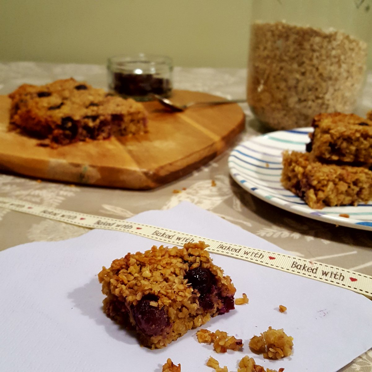 blueberry and carrot flapjacks
