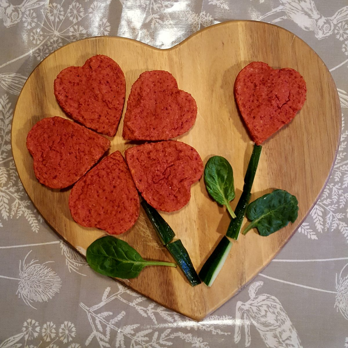 Beetroot lentil hearts